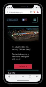 DJ Nate Dawg Ent mobile view mockup